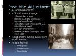 post war adjustment