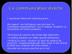 l e communication directe