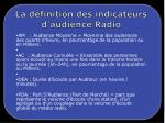 la d finition des indicateurs d audience radio