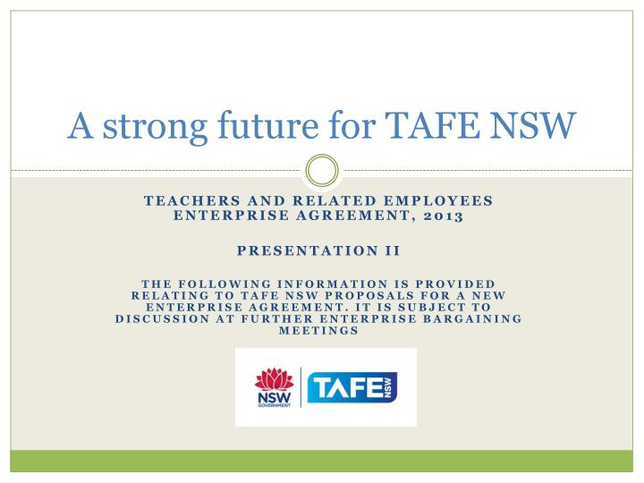 a strong future for tafe nsw n.