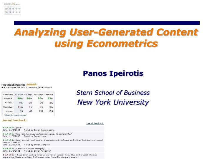 analyzing user generated content using econometrics n.