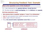structuring feedback text example