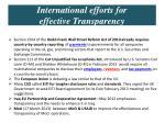 international efforts for effective transparency