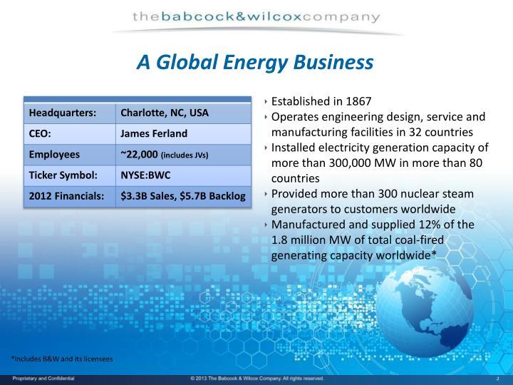 A global energy business