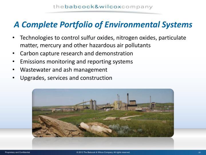 A Complete Portfolio of Environmental Systems