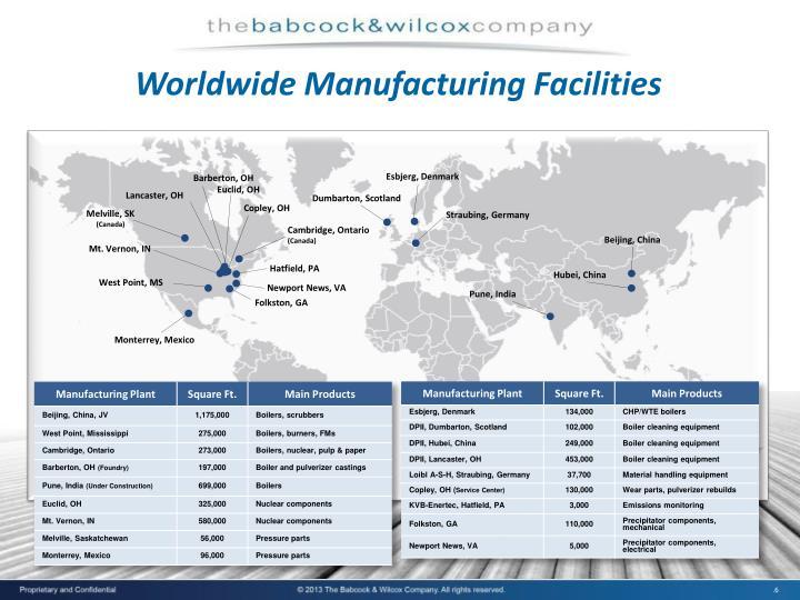 Worldwide Manufacturing Facilities