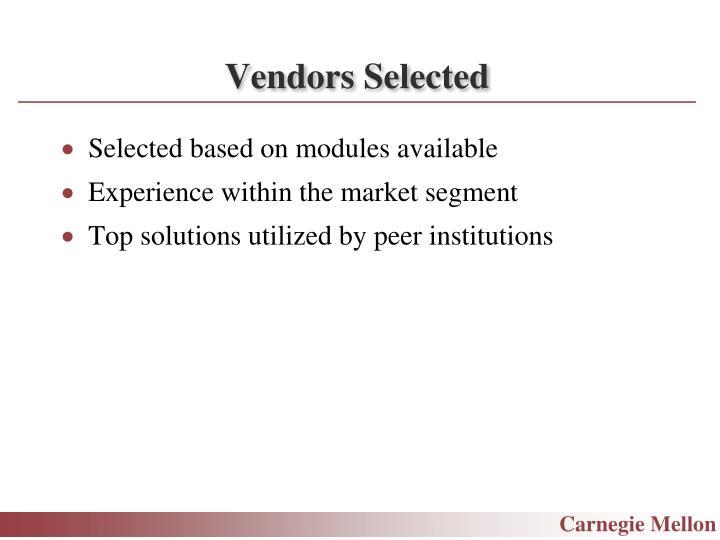 Vendors Selected