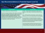 8 e recommendations potential impact cont d