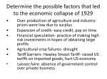 determine the possible factors that led to the economic collapse of 1929