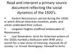 read and interpret a primary source document reflecting the social dynamics of the 1920 s