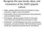 recognize the new trends ideas and innovations of the 1920 s popular culture