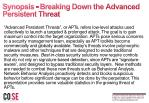 synopsis breaking down the advanced persistent threat