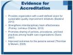 evidence for accreditation