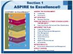 section 1 aspire to excellence