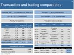 transaction and trading comparables