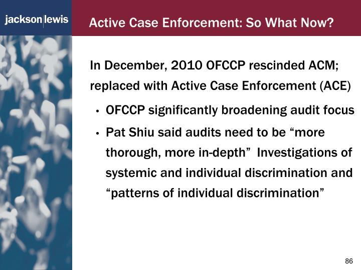 Active Case Enforcement: So What Now?