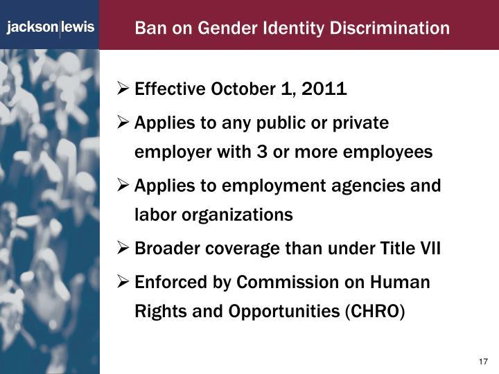 Ban on Gender Identity Discrimination