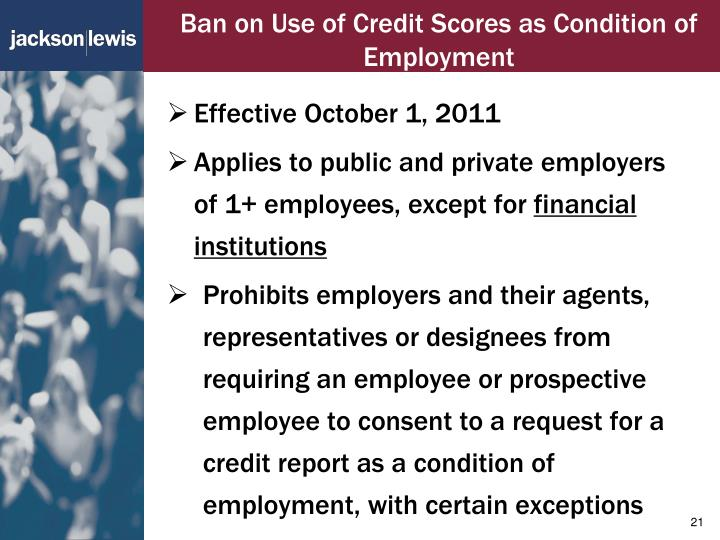 Ban on Use of Credit Scores as Condition of Employment