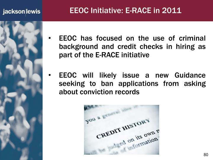 EEOC Initiative: E-RACE in 2011