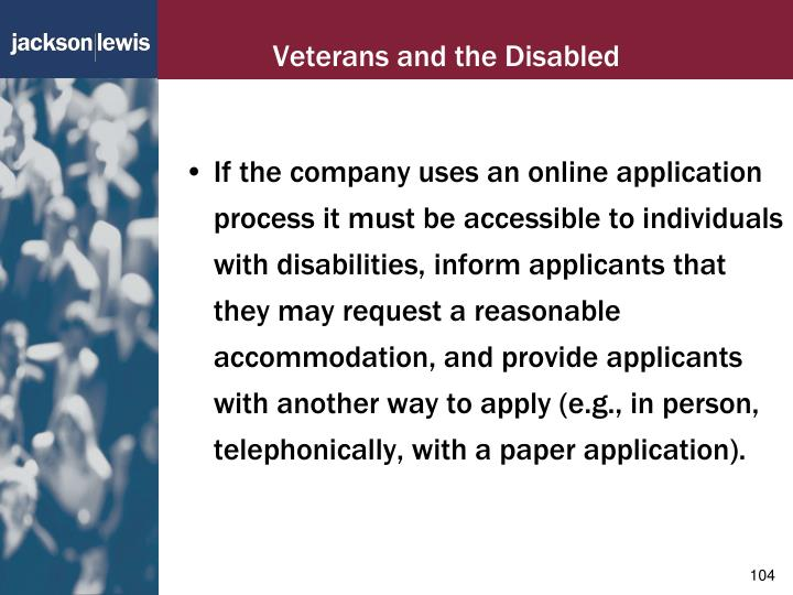 Veterans and the Disabled