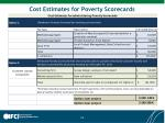 cost estimates for poverty scorecards
