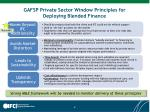 gafsp private sector window principles for deploying blended finance