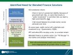 identified need for blended finance solutions