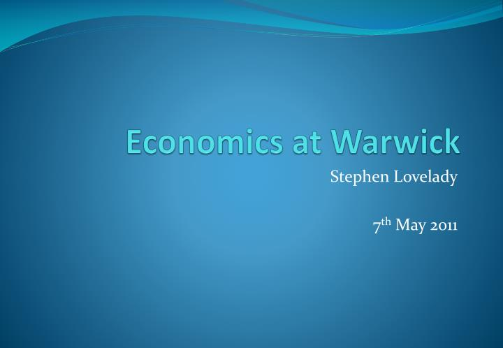 economics at warwick n.