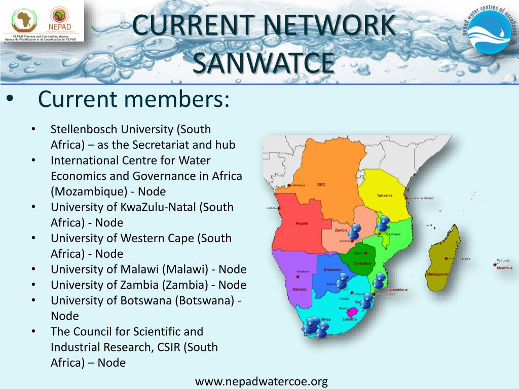 PPT - NEPAD AFRICAN NETWORKS OF WATER CENTRES OF EXCELLENCE
