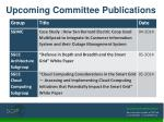 upcoming committee publications