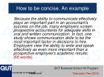 how to be concise an example