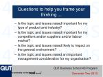questions to help you frame your thinking