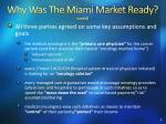 why was the miami market ready cont d