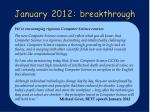 january 2012 breakthrough