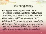 restoring sanity