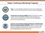 today s continuous monitoring programs