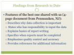 findings from research to date1