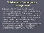all hazards emergency management