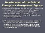 development of the federal emergency management agency11