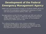 development of the federal emergency management agency9