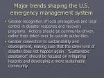 major trends shaping the u s emergency management system1