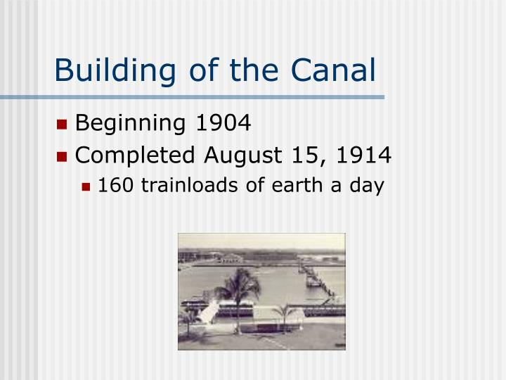 Building of the Canal