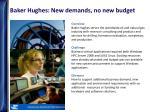 baker hughes new demands no new budget