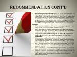 recommendation cont d
