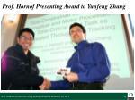 prof hornof presenting award to yunfeng zhang