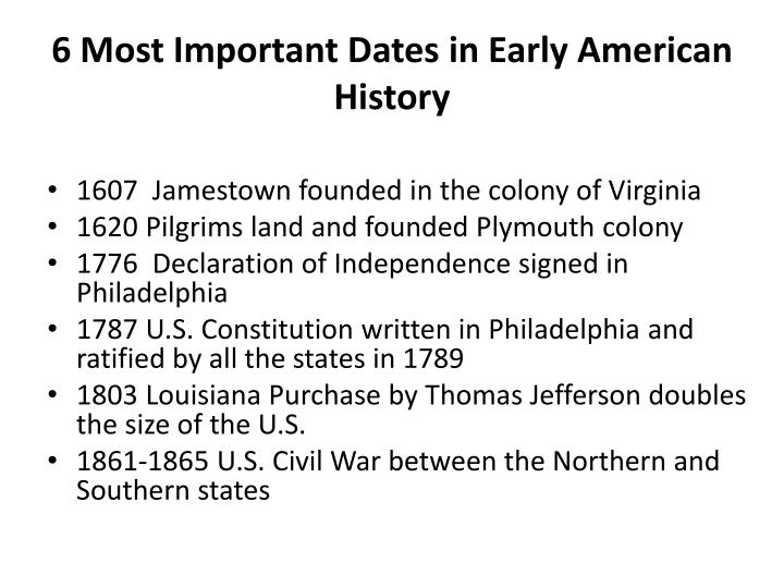 6 most important dates in early american history n.