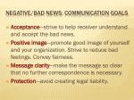 negative bad news communication goals