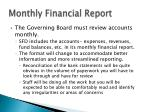 monthly financial report