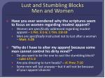 lust and stumbling blocks men and women