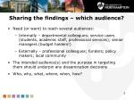 sharing the findings which audience